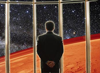 Man Overlooking Mars